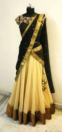 Designer Half Saree | Buy Online Lahenghas | Elegant Fashion Wear Price:10800 #designer #black #cream #hlafsaree