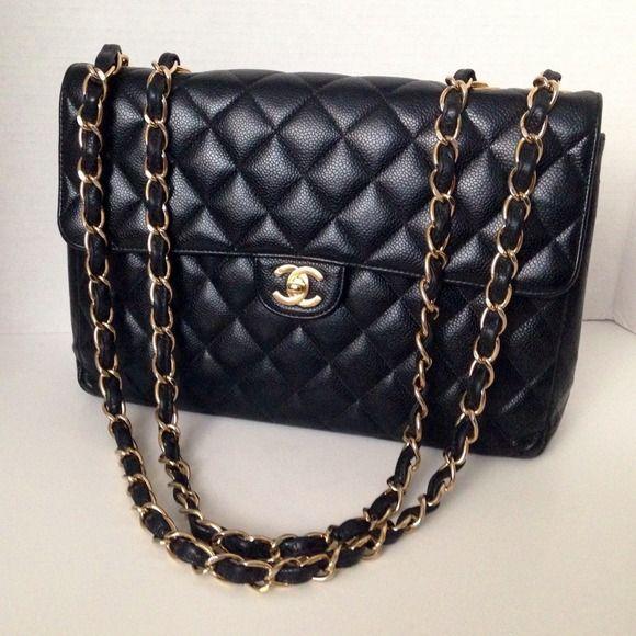CHANEL Handbags - Authentic Chanel Jumbo Caviar Flap