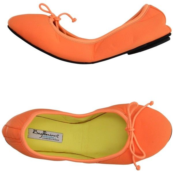 Bagllerina Ballet Flats ($53) ❤ liked on Polyvore featuring shoes, flats, orange, ballet shoes, lace up shoes, ballet flats, ballet pumps and ballerina flat shoes