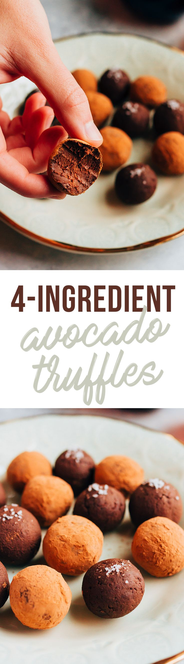 No one will never guess these decadent 4-ingredient chocolate truffles are made with avocado instead of heavy cream. As long as you use dairy-free chocolate chips, these creamy truffles are gluten-free and vegan!