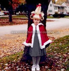 Homemade Cindy Lou Who Halloween Costume: This is a Homemade Cindy Lou Who Halloween Costume for my 6 year old daughter. I found an adult red velvet cape from a vampire costume from years' past