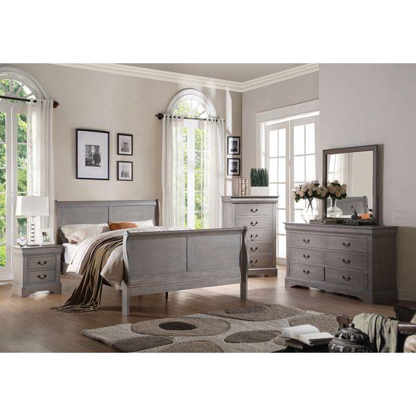 Acme Furniture Louis Philippe III 4-Piece Antique Grey Bedroom Set