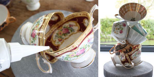 Knutsel van oude kopjes en schaaltjes een prachtig kringloop kunstwerk, voor #moederdag of als origineel cadeau.