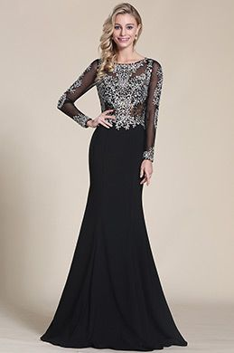 Beaded Bodice Long Sleeves Prom Dress Graduation Dress (C36150500)