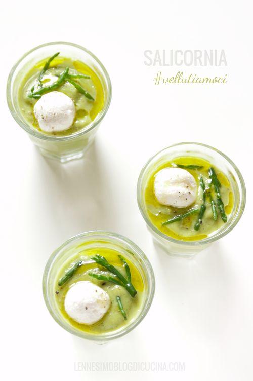 Vellutata di zucchine e salicornia con palline di caprino (courgettes & samphire cream) ©lennesimoblog