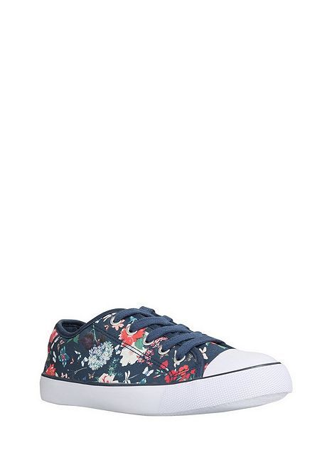 Tesco direct: F&F Contrast Toecap Floral Lace-Up Canvas Shoes