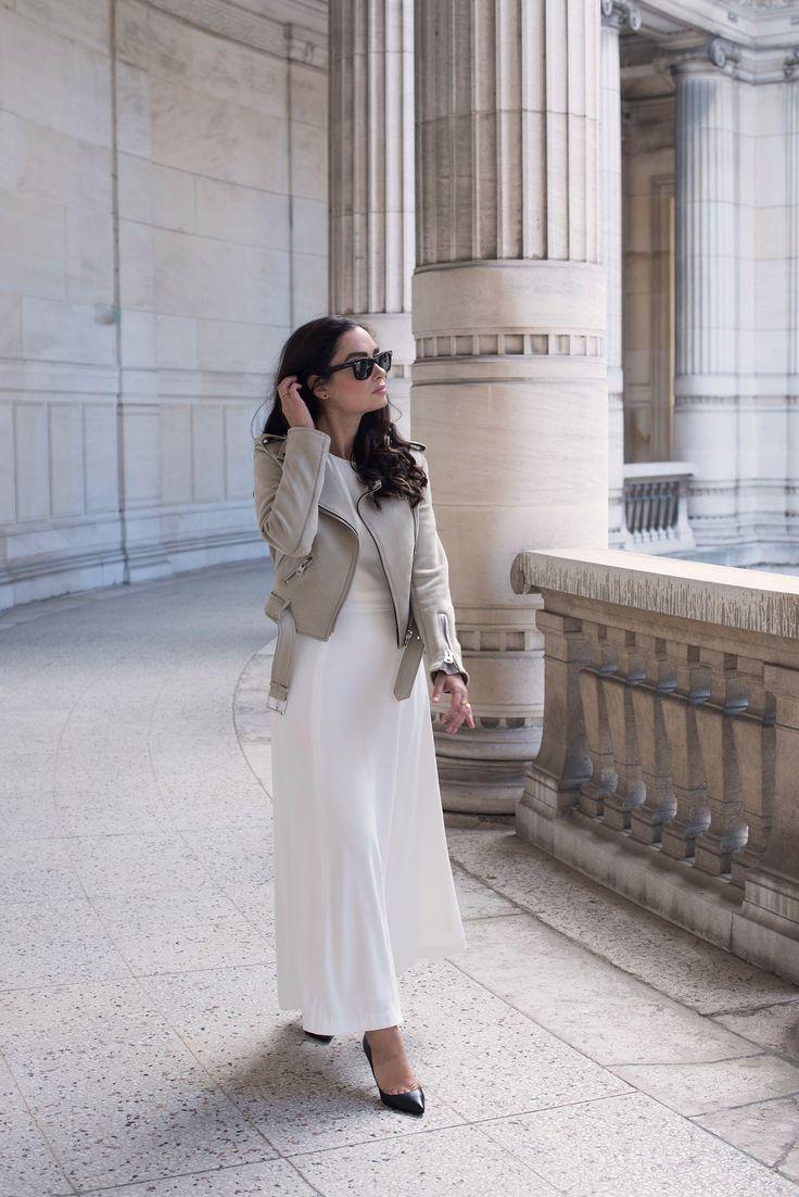 Zara jacket, Ray Ban Wayfarer sunglasses, Ivy & Oak dress, Christian Louboutin Pigalle pumps