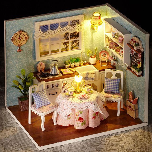 Quarto casa de bonecas de madeira DIY Miniatura presentes menina brinquedos educativos de madeira 3D casa de bonecas em Miniatura caixa artesanal série feliz 4 estilos