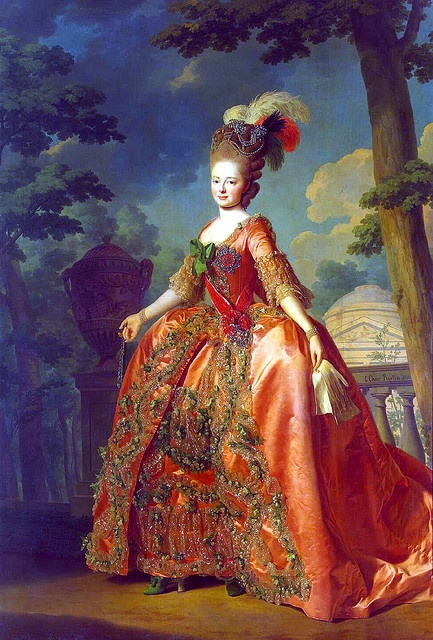 Maria Feodorovna (Sophie Marie Dorothea Auguste Louise) (1759-1828) Württemberg by Alexander Roslin 1777. 2nd wife of Emperor Paul I (Paul Petrovich Romanov) (1754-1801) Russia with who she had 10 children.