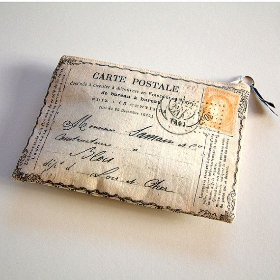 Handprinted purse Postcard from France by RosiesArmoire on Etsy, $29.00