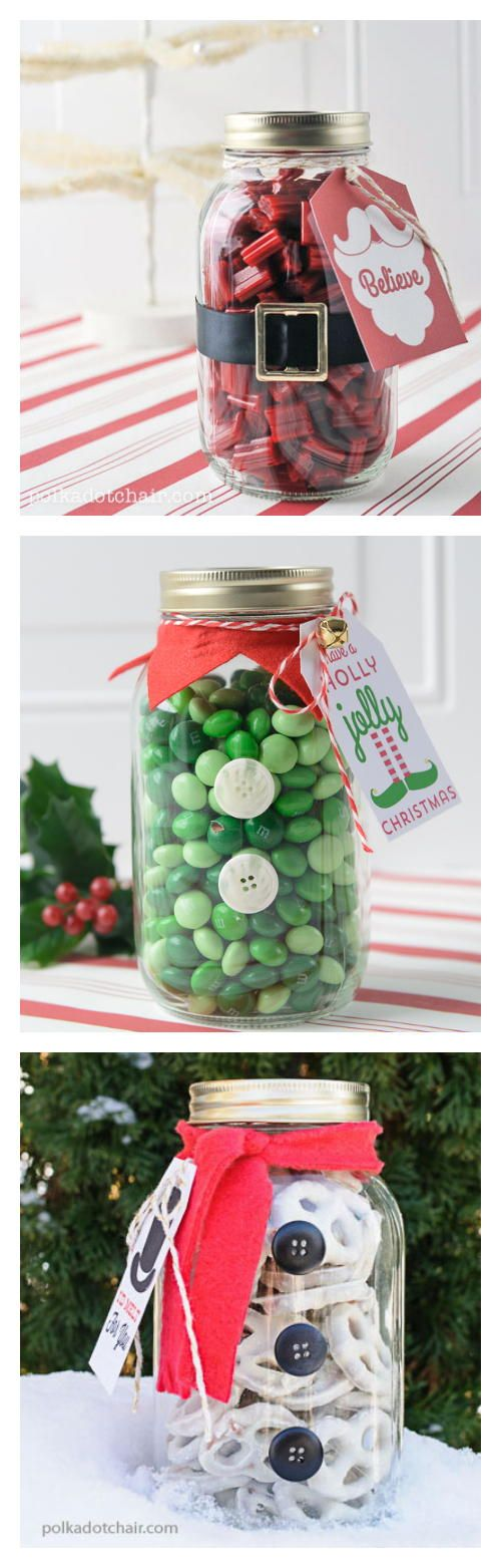 Food Gift Ideas for Christmas — Santa, Elf, and Snowman Gift Jars by Melissa from PolkaDot Chair. The site has free printable tags to go with them.