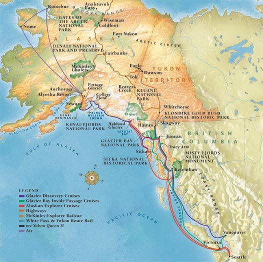 Alaska Maps Alaska Cruise Map Alaska Regional Map Vacation - Map of alaska and canada
