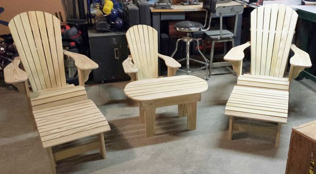 Hi Phil,  As promised I am attaching some pictures from my Adirondack Chair project. I built 2 adult and 1 youth Adirondack Chairs for my daughter, son-in-law and grandson. My daughter will getting hers in March as a birthday present. While I was at it I decided to make 2 footstools to go with the adult chairs and a table to go with the youth chair to complete the overall ensemble.  The complete Package of Digital Plans (Item # BH-O-025) I purchased worked out terrific.