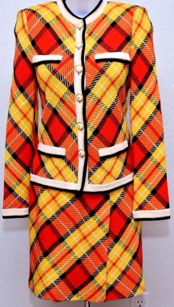 ST.JOHN Amazing Womens Plaid Knit Suit Tweed Yellow Red Blac Jacket & Skirt Sz 6 #StJohn #SkirtSuit