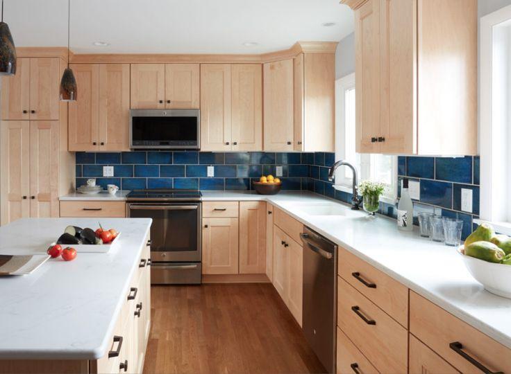 natural wood kitchen blue backsplash - Google Search ... on Kitchen Backsplash With Natural Maple Cabinets  id=11974
