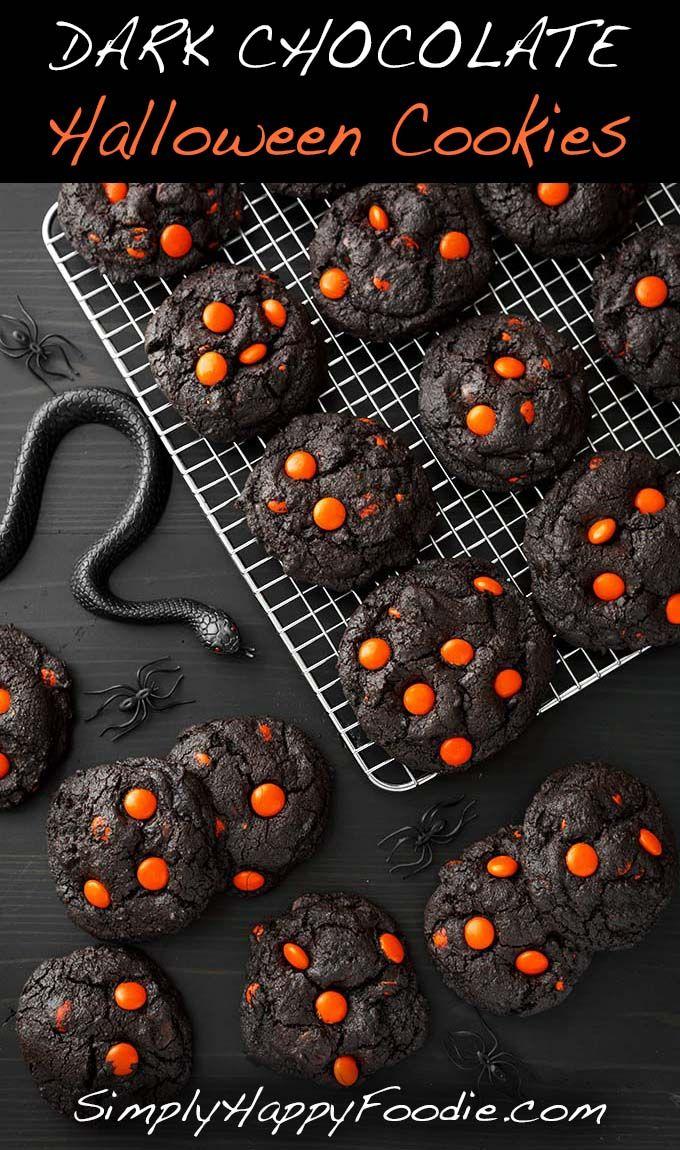 Dark Chocolate Halloween Cookies make a spooky and tasty treat! The dark as nigh…