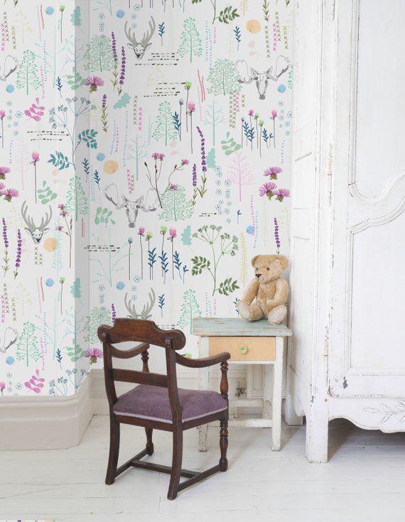 Deer Pattern Wallpaper Self Adhesive Vinyl Wallpaper Etsy In 2020 Kids Room Wall Decor Kid Room Decor Vinyl Wallpaper
