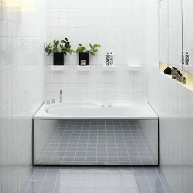 For a very narrow bathroom, add a mirror to the tub's built-in side panel to make it appear larger. Keep other décor to a minimum to avoid m...