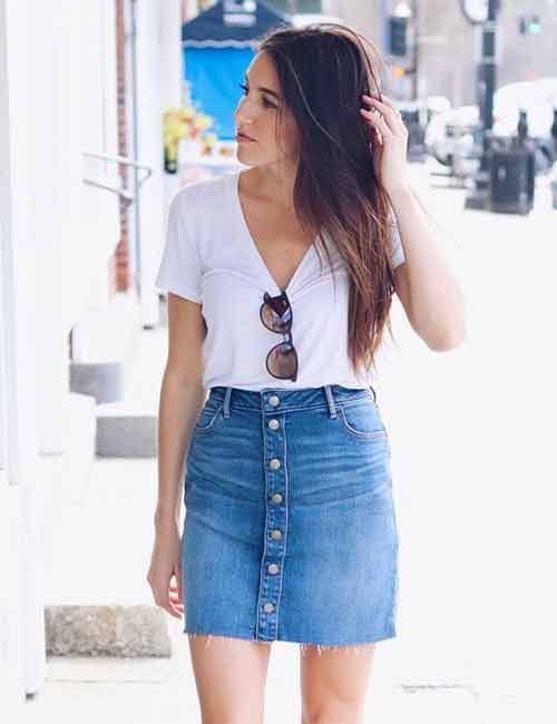 c139edabf3c7 Cute Denim Skirt Outfit Ideas – 18 Different Ways To Style It ...