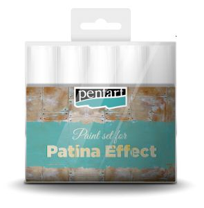 Patina effect paint set // You can imitate the patina coated surface of an antique copper object by the products in the set. Paint the surface by antique copper metal acrylic paint. Dry it, and then apply matte acrylic paints altered, but don't cover the entire surface. You can also mix the colors to achieve the required effect.