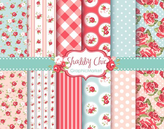 12 Shabby Chic Rose Digital Scrapbook Paper pack by GraphicMarket