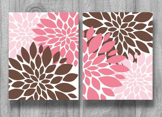 Pink Brown Nursery Art Bedding Set Baby Shower Gift Flower Print Decor 8x10 11x14 5x7