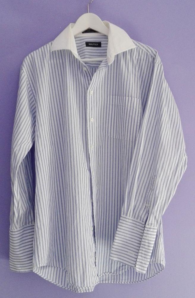 Camicia uomo NAUTICA righe verticali bianca blu colletto bianco 32/33 16 L lunga
