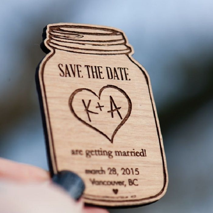 """Rustic theme mason jar shaped wood magnetic """"save the dates"""" from StylineDesigns via etsy. #rustictheme #savethedate"""