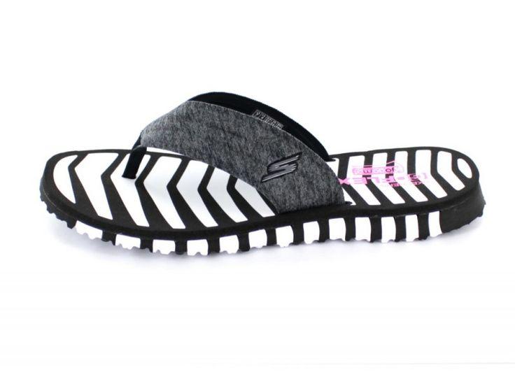Skechers Go Flex Vitality - Damen Pantolette aus Textil in schwarz/weiß