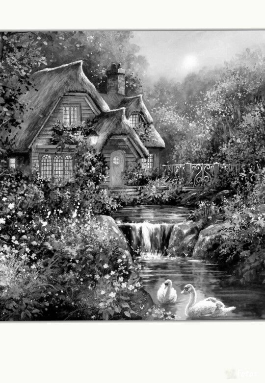 Reminds me of  a Thomas Kinkade painting......Coloring for adults - Kleuren voor volwassenen