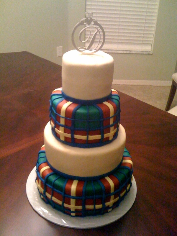 Celtic wedding - This was made for a couple who wanted the cake to match the groom's kilt.