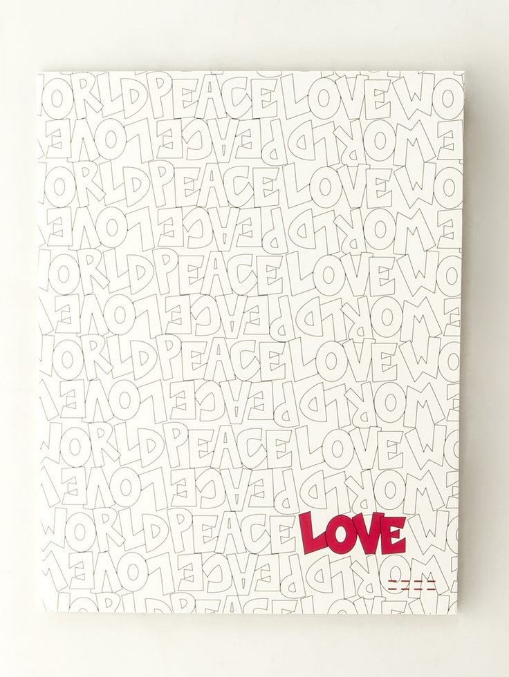 Peace Love World Pattern White Two Pocket Folder Lots Of Folders For Different Love Letters Over