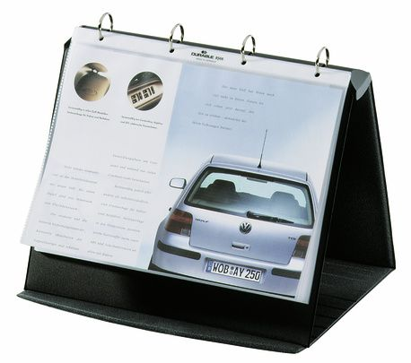 Flipchart stołowy DURASTAR® A4 poziomy     Atrakcyjne wzornictwo dla szczególnie wymagających klientów. Do zastosowania jako nośnik informacji na szkoleniach, targach, wystawach i prezentacjach w małym gronie. Interesujące detale jak np. równoległe linie znajdujące się na przedniej stronie Flipcharta.   Format: A4 poziomy.  Wymiary: 265 wysokość x 330 szerokość, 40 szerokość grzbietu, 260 głębokość (rozłożony).    Nr art.8567-39 Opakowanie:sztuka  Wybierz kolor:bazaltowy