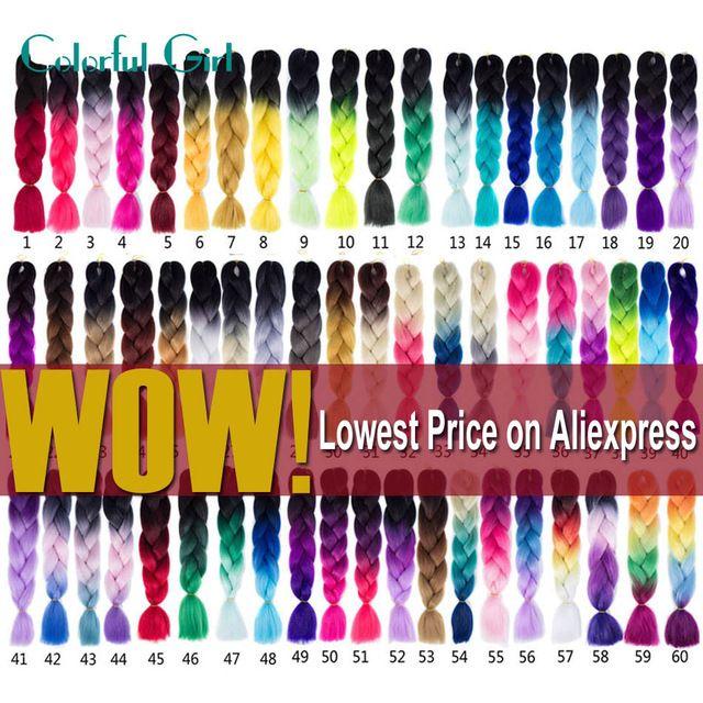 Ombre Kanekalon Braiding Hair 24Inch Crochet Braids Box Braids 100G/Pack Kanekalon Jumbo Braid Crochet Hair Extensions Color