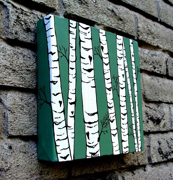 Birch tree canvas painting. Love!