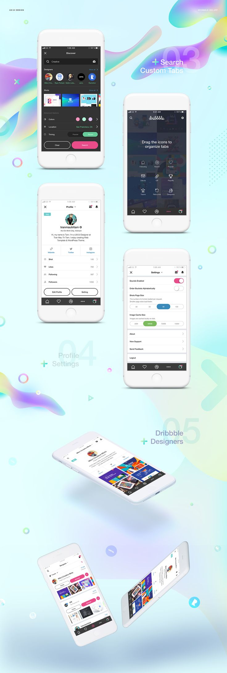 Dribbble social app ui design jpg by ramotion - A Redesign Concept For Dribbble That Involves Interaction Design And Ios Design Designed By Vietnam Based Designer Trau Mau Tri Tam