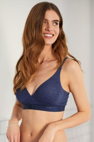 55dbf628e57d18 Buy Navy Daisy Soft Modal Non Wired Non Padded Bralette from Next Israel