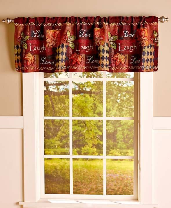 Valance Window Live Laugh Love Tapestry Fall Decor Country Dining Or Kitchen U2026