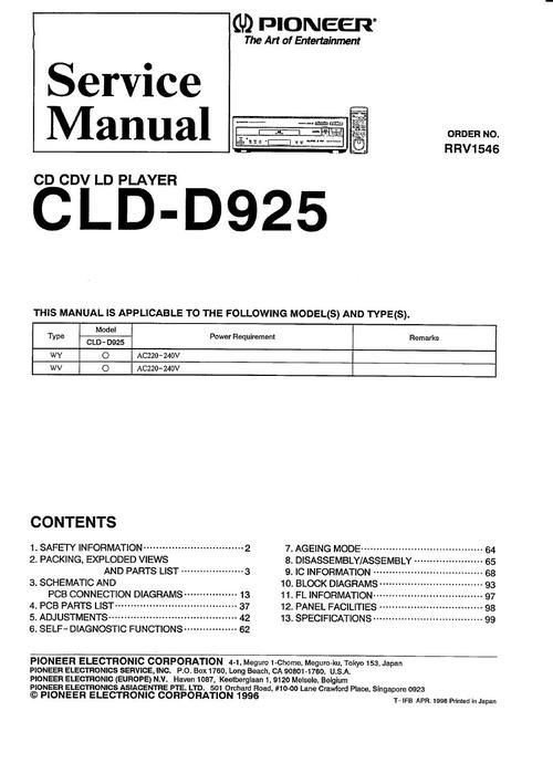 Pioneer CLD-925 Laser Disc , Service Manual * PDF format suitable for all Windows , DOWNLOAD