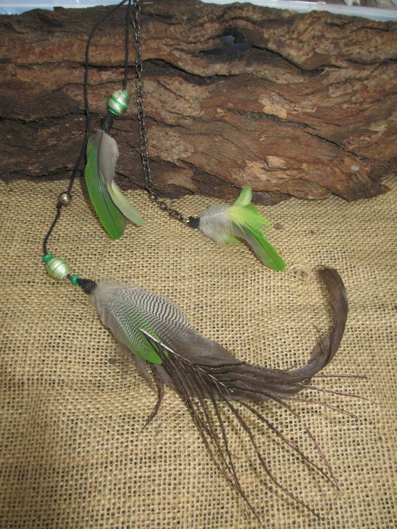 Alexandrine green feather extension clip in by NoodgeDesigns, $25.00