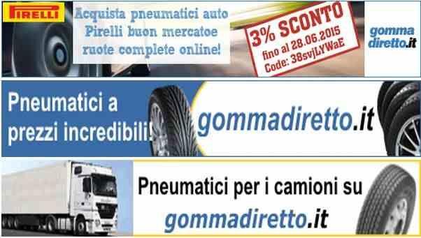 Pneumatici codice di sconto per Italia. Sconto del 3% su Pirelli pneumatici e ruote complete