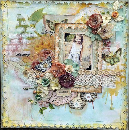 Watercolor layout by Janine Koczwara for Live with Prima
