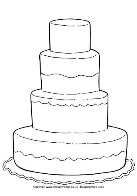 wedding cake coloring page for a kids activity book for the dinnerreception - Kids Wedding Coloring Book