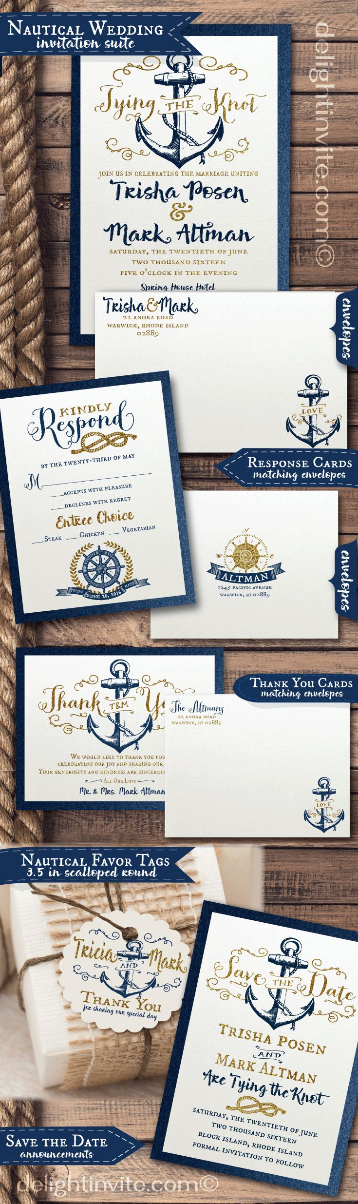 Vintage rustic nautical wedding invitation ensemble from Delight Invite. Professionally printed and artfully hand-mounted on beautiful metallic navy blue card stock. This gorgeous nautical wedding suite includes matching RSVP cards, thank you cards, favor tags, and save the date cards.