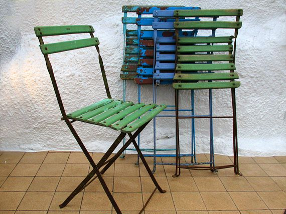 French Bistro Chair Folding Chair, Ice Cream Colours