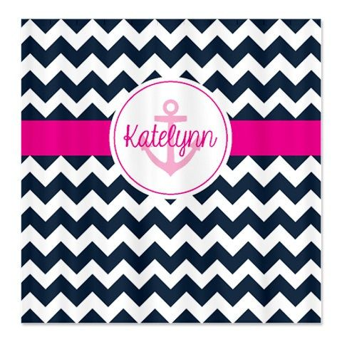 Custom Chevron Anchor Shower Curtain With Name-Personalized-Hot Pink-Navy Blue-White OR Choose Colors-Standard or Extra Long on Etsy, $78.00
