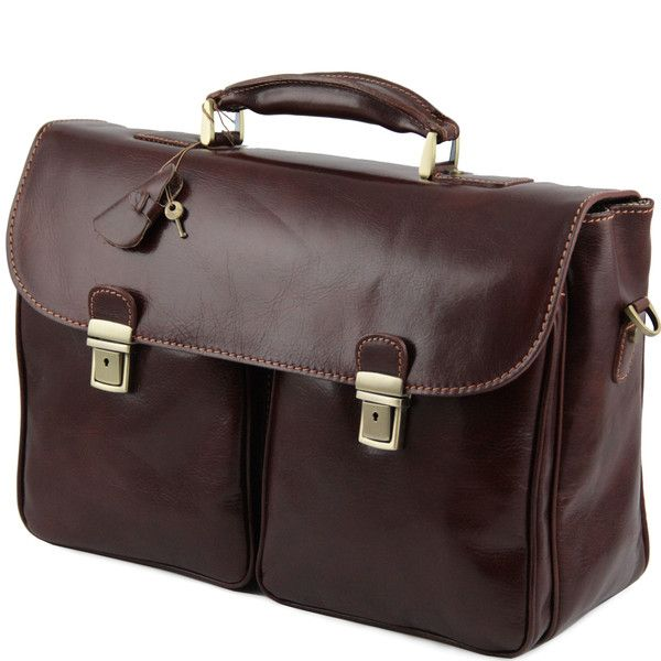 PIENZA - Leather briefcase with two front pockets