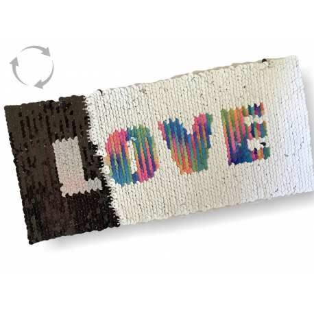 Reversible sequins patch LOVE, rainbow-b/w, XL color change wipe applique ca. 11x23cm