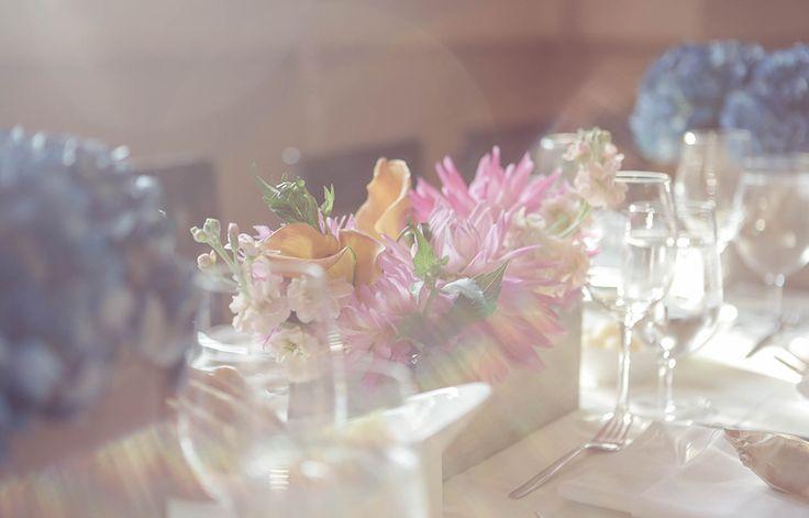 Simple floral centrepieces | Vintage wedding photography | www.newvintagemedia.ca | Enoch Turner School House Wedding