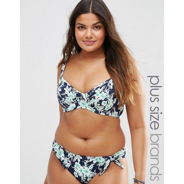 Marie Meili Belize Curves Bikini Top ($20) ❤ liked on Polyvore featuring swimwear, bikinis, bikini tops, blue, plus size tankini tops, plus size underwire bras, underwire bikini top, underwire tankini top and plus size swim wear